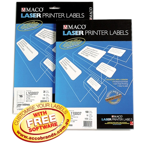 Maco L110010 (L7173) 10Up White Address Laser Labels 99.1 x 57mm BOX 100 SPECIAL 30% Off - only 1 available at this price
