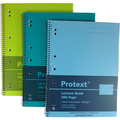PROTEXT PP LECTURE BOOK SIDE SPIRAL PLUS 7 HOLES A4 200 PAGE ASSORTED