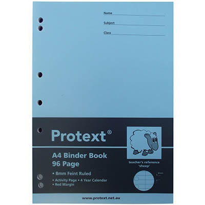 PROTEXT BINDER BOOK A4 STAPLED RULED 8MM 96 PAGE SHEEP ASSORTED