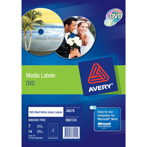 Avery White Full Face DVD Labels (J8676) 117mm PACK 14 SPECIAL 30% Off - only 3 available at this price