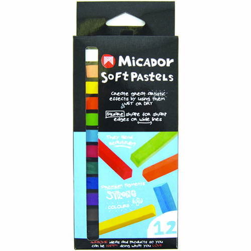 MICADOR BASICS CHALK PASTELS ASSORTED COLOURS PACK 12