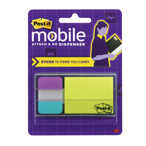 3M Post It Mobile Attach & Go Tabs & Mini Pop Up Notes 12 Notes