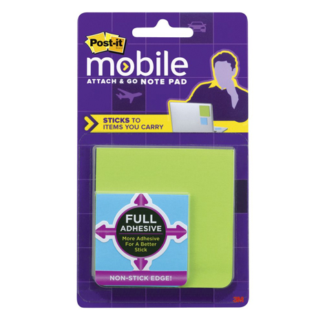 3M Post It Mobile Attach & Go Notes 3 Pack 25 sheets/pad