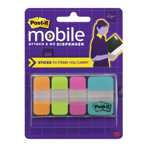 3M Post It Mobile Attach & Go Bright Colours Tabs Dispenser PACK 40