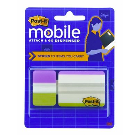 3M Post It Mobile Attach & Go Bright Colours Tabs Dispenser PACK 24