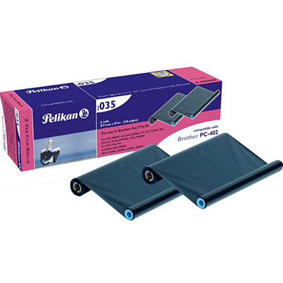 PELIKAN COMPATIBLE BROTHER PC402 FAX FILM REFILL BLACK TWIN PACK