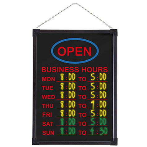 Quartet LED Business Hours Board 450 x 600mm