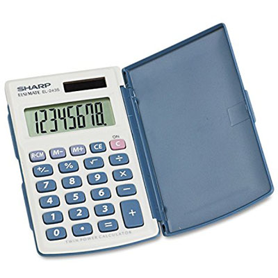 SHARP EL243S POCKET CALCULATOR WITH TWIN POWER AND HARD COVER 8 DIGIT