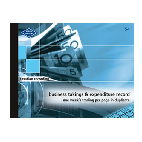 Zions 54 Business Takings and Expenditure Record